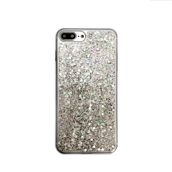 World Map Silver Glitter Phone Case