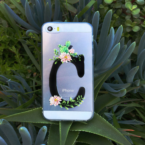 Custom Succulent Initial Clear Phone Case