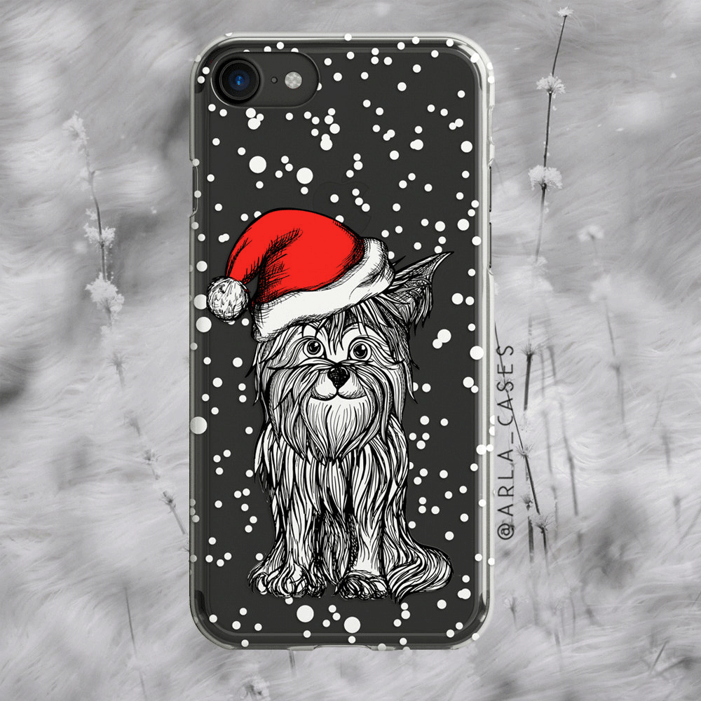 Santa Dog Clear iPhone and Galaxy Phone Case