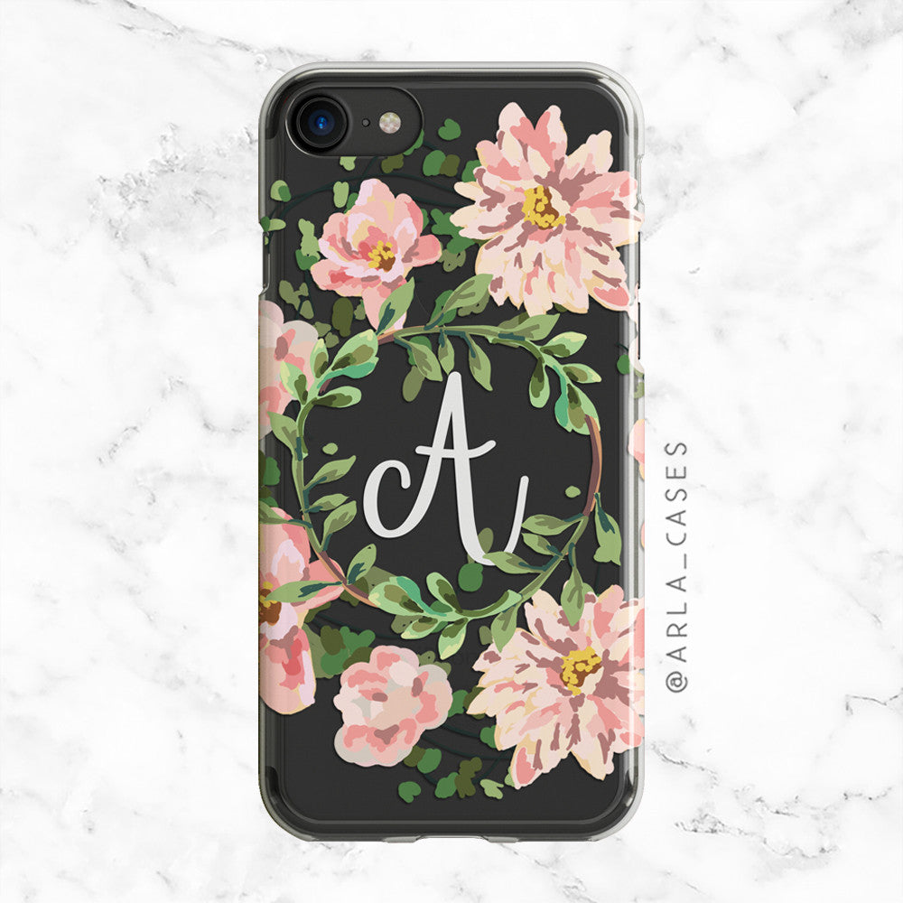 Custom Monogram Phone Case - Pink Florals