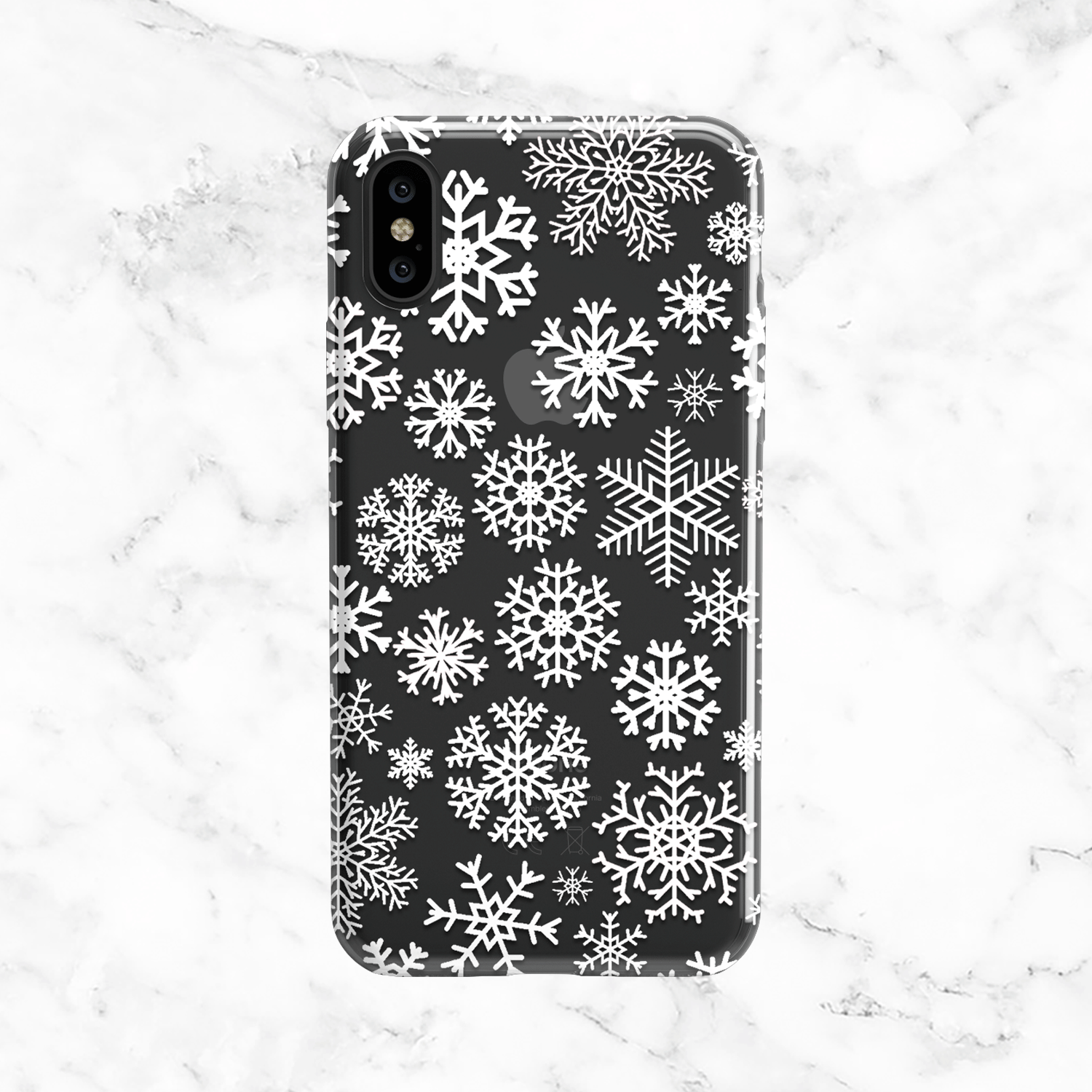 White Snowflakes Iphone And Galaxy Phone Case Clear Tpu With White