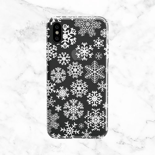 White Snowflakes iPhone and Galaxy Phone Case - Clear TPU with White Print