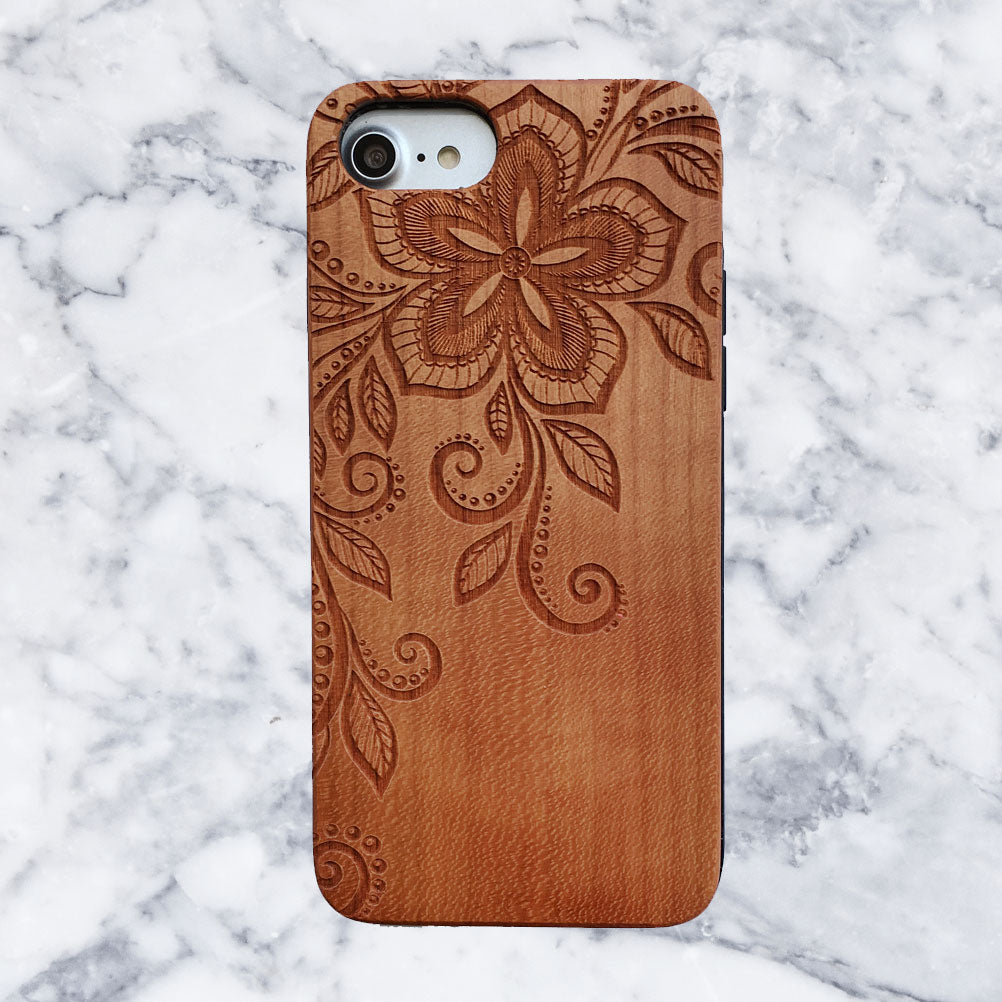 Ornate Floral Wood Engraved iPhone Case