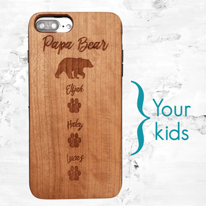 Personalized Papa Bear Engraved Wood Case