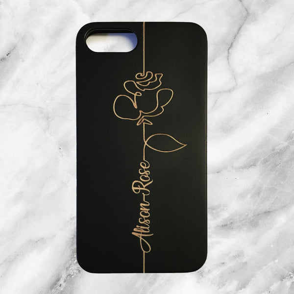 Rose Phone Case with Custom Text