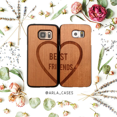 Best Friends Heart Phone Case Set on Genuine Wood