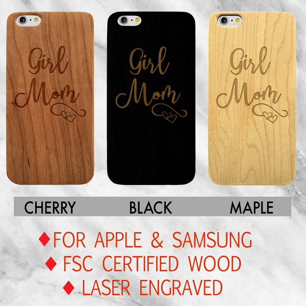 Girl Mom Wood Phone Case