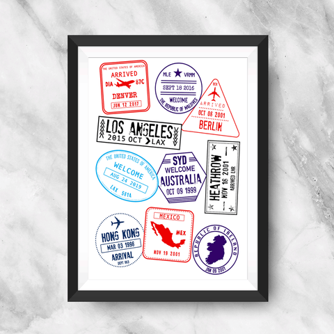 Stamp Me Wanderful Art Print made with custom stamps to depict your locations, dates, and airport codes. four color options include traditional, black, pink, and rainbow.