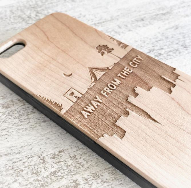 Away From The City - Camping Wood Phone Case