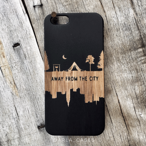 Away From the City Wood iPhone and Galaxy Phone Case