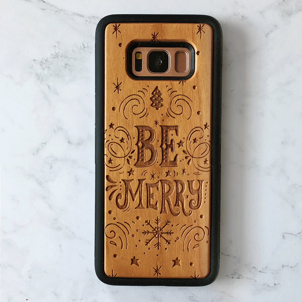Be Merry Wood Phone Case