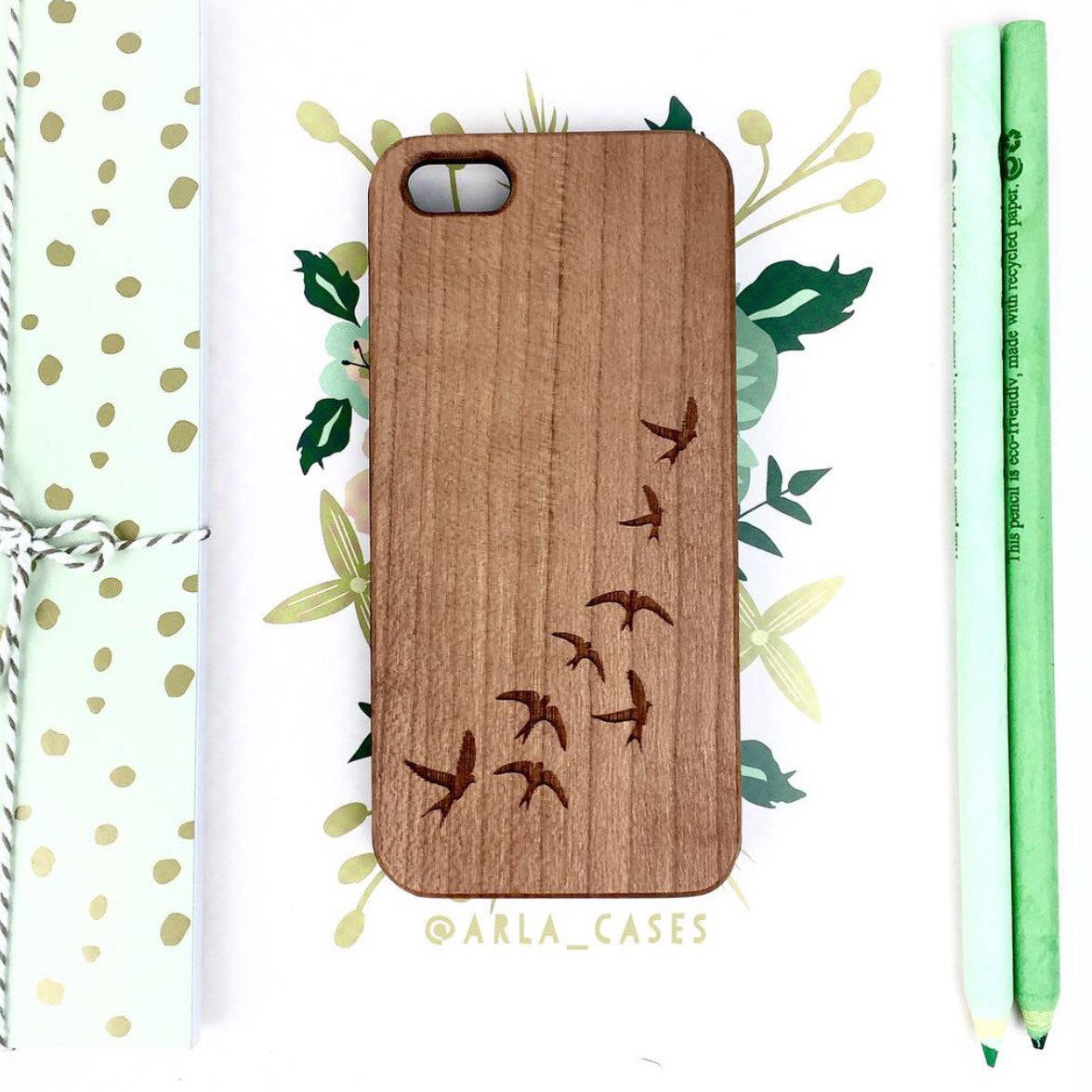 Sparrow Birds in Flight Wood Phone Case