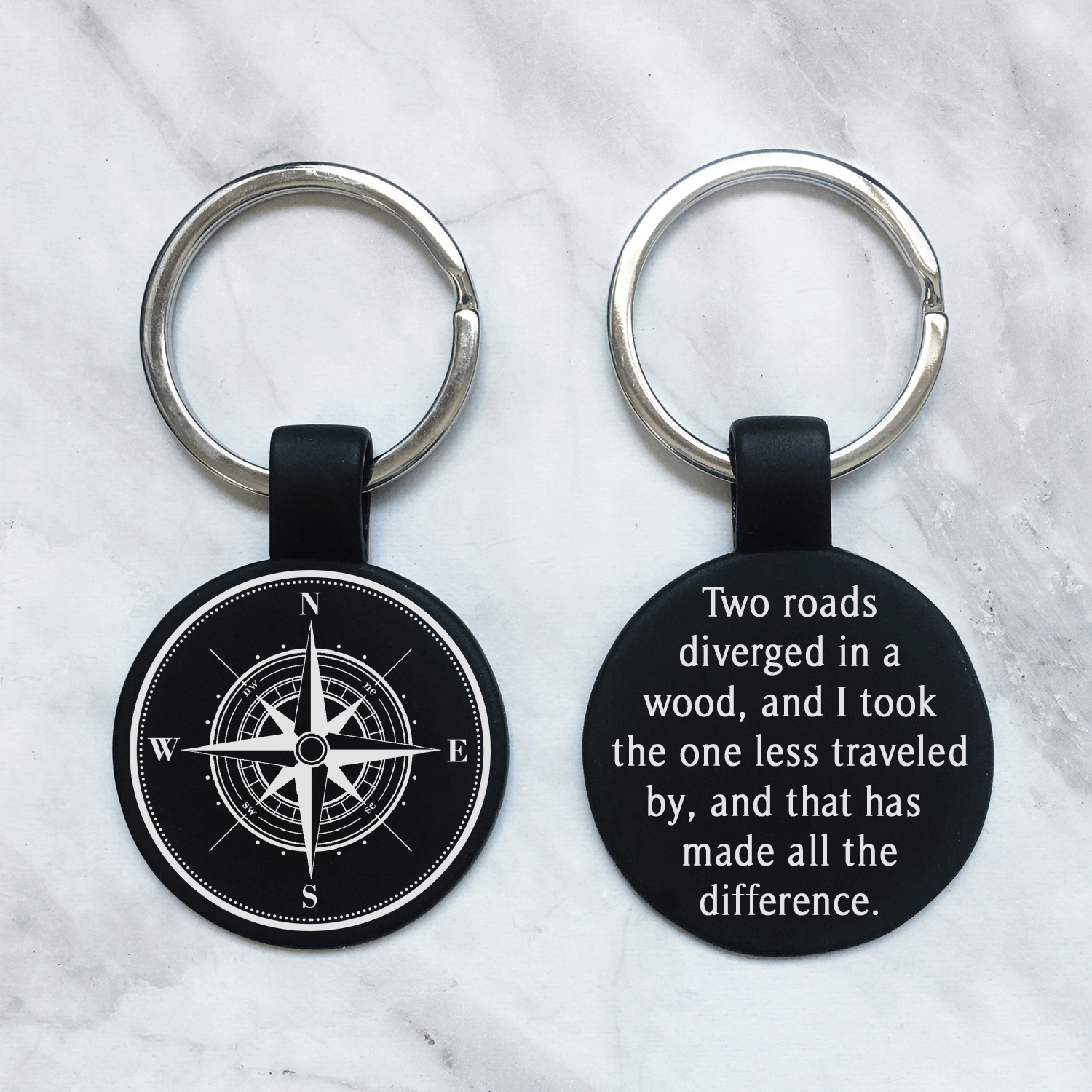 Personalized Compass Keychain