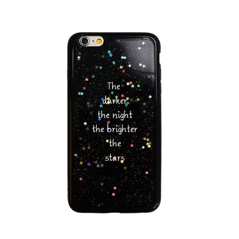 Black Glitter Starry Night Quote Phone Case
