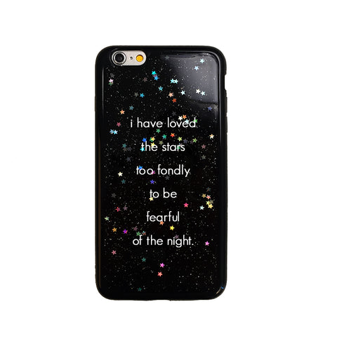 Black Glitter Night Sky Quote iPhone Case