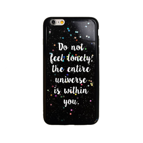 Black Glitter Rumi Universe Quote iPhone Case