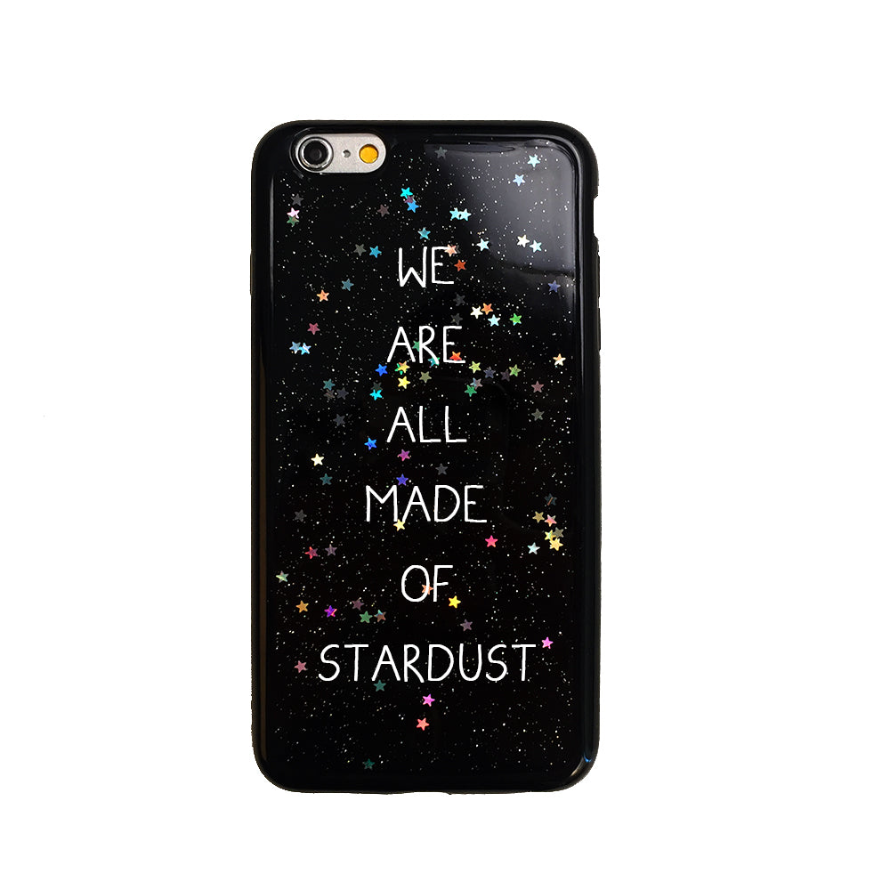 Black Glitter Stardust Quote iPhone Case