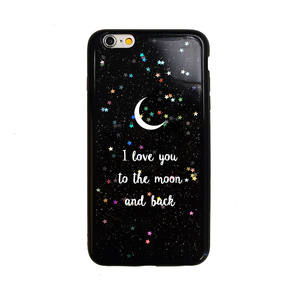 Quote I Love You To The Moon And Back Black Glitter I Love You To The Moon And Back Quote Phone Case