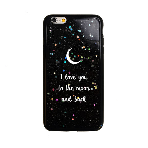Black Glitter I love you to the moon and back Quote iPhone Case