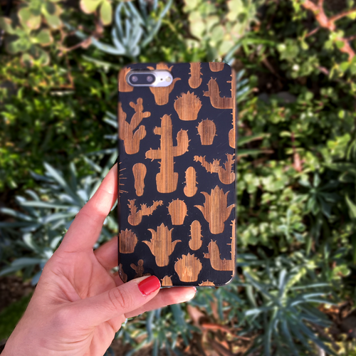 Cactus Pattern Wood Phone Case