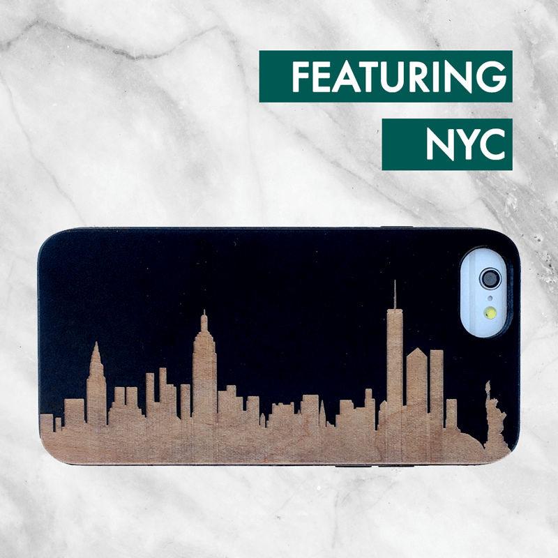 Custom City Skyline Wood Phone Case