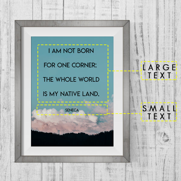 Custom Quote Mountain Scene Art Print - Blue