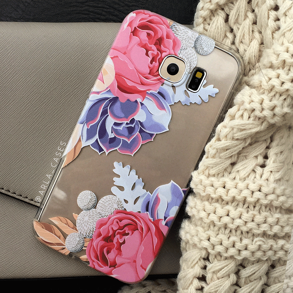 Succulent Flower Clear iPhone and Galaxy Phone Case