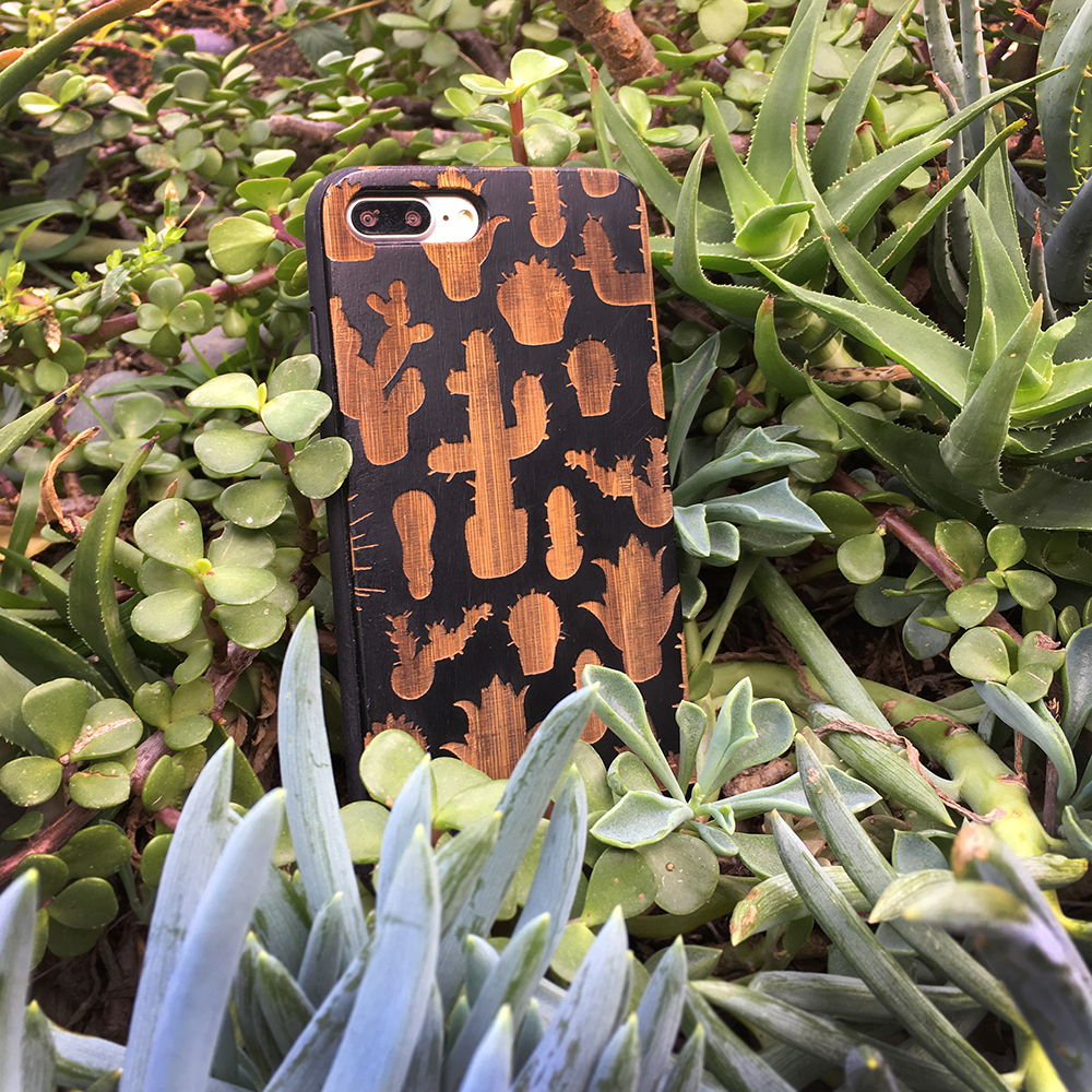 Cactus Silhouette Pattern Wood Phone Case