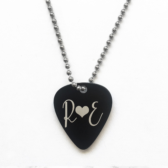 Custom Steel Engraved Guitar Pick Necklace