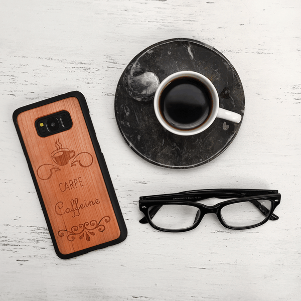 Carpe Caffeine! -  Funny Coffee Quote Wood Phone Case