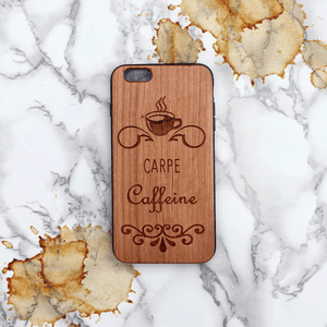 Carpe Caffeine Wood Phone Case