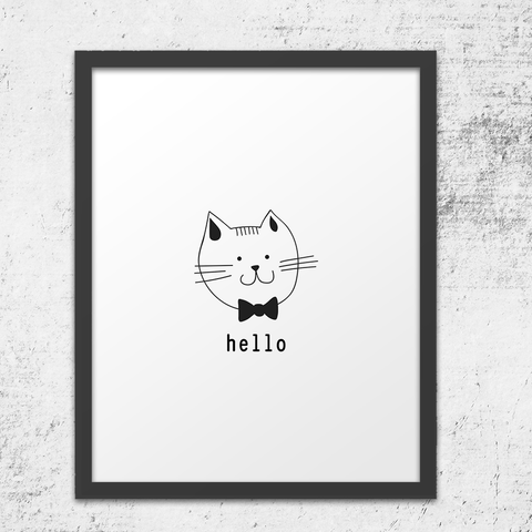 Hello Fancy Cat Wall Art Print