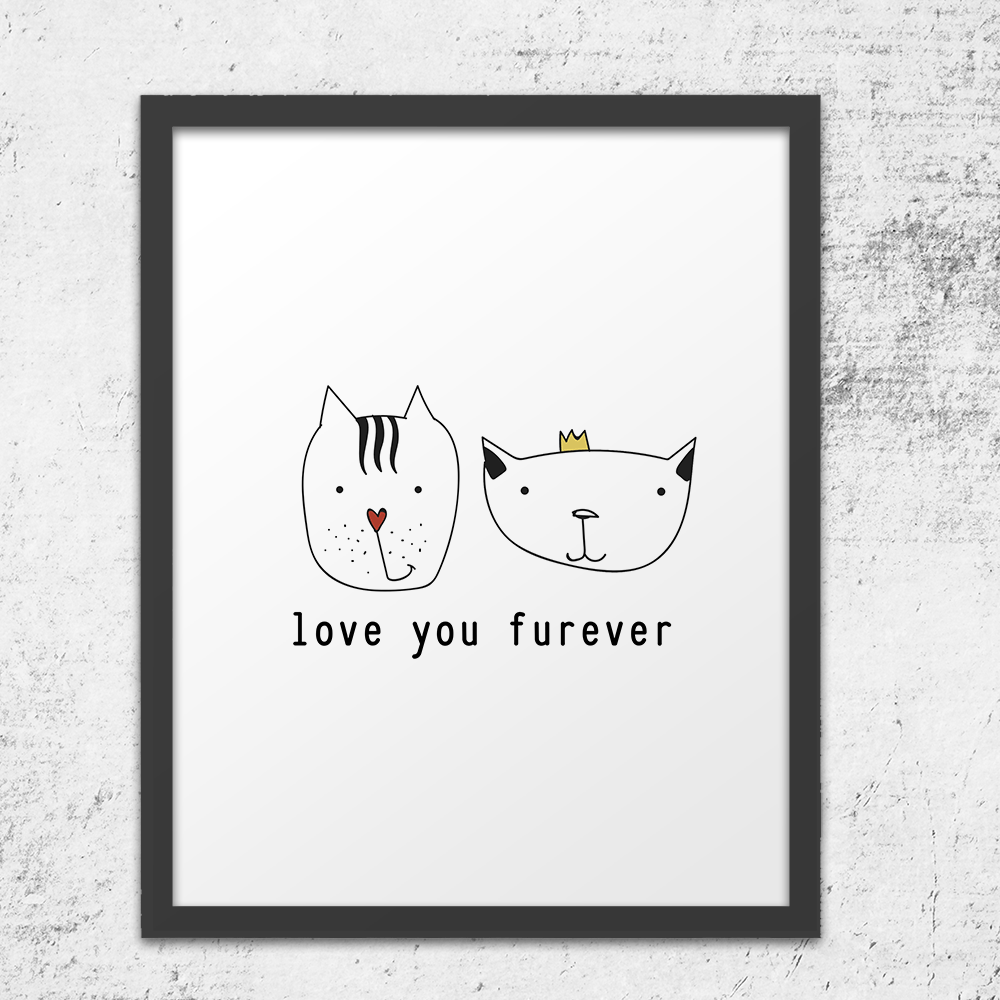 Love You Furever Cats Wall Art Print