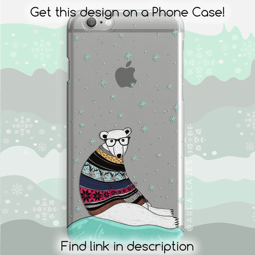 Christmas Polar Bear Silver Liquid Glitter Phone Case