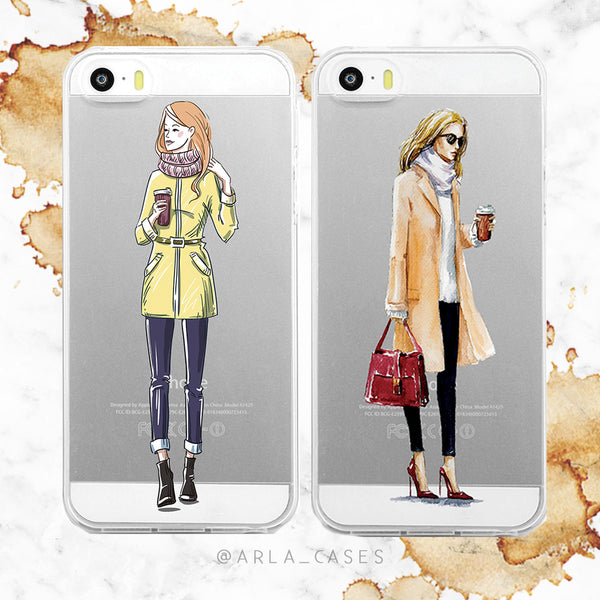 Coffee Girls on Clear Printed iPhone Case