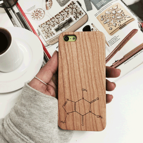 Caffeine Wood iPhone and Galaxy Phone Case