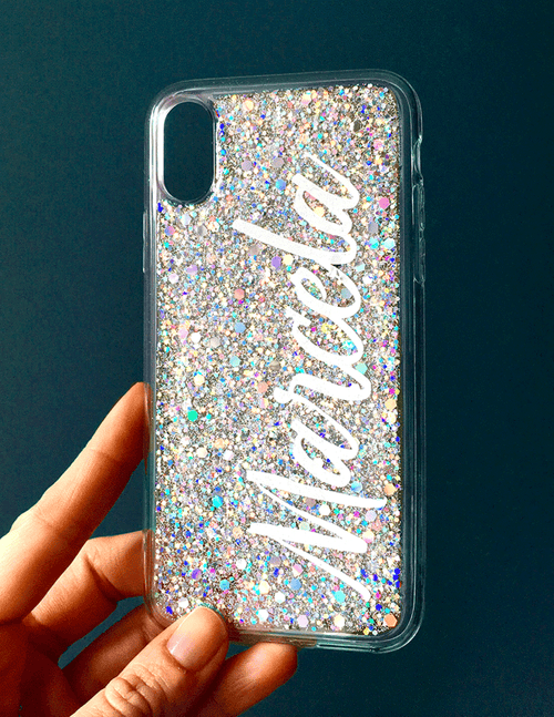 Silver Glitter Custom Name Phone Case