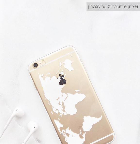 World Map Phone Case - Travel Themed Phone Case - Clear TPU
