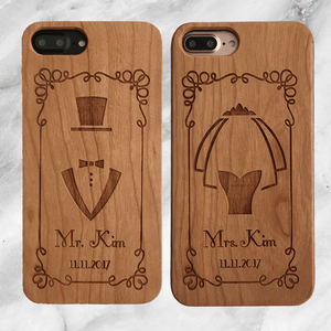 Custom Bride & Groom Wood Phone Case Set
