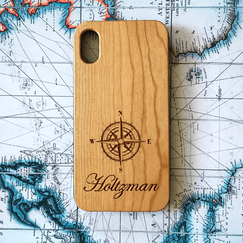 Custom Compass Name Wood Case