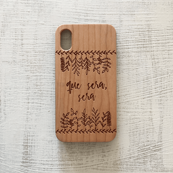 Custom Leaves with Text - Wood Phone Case