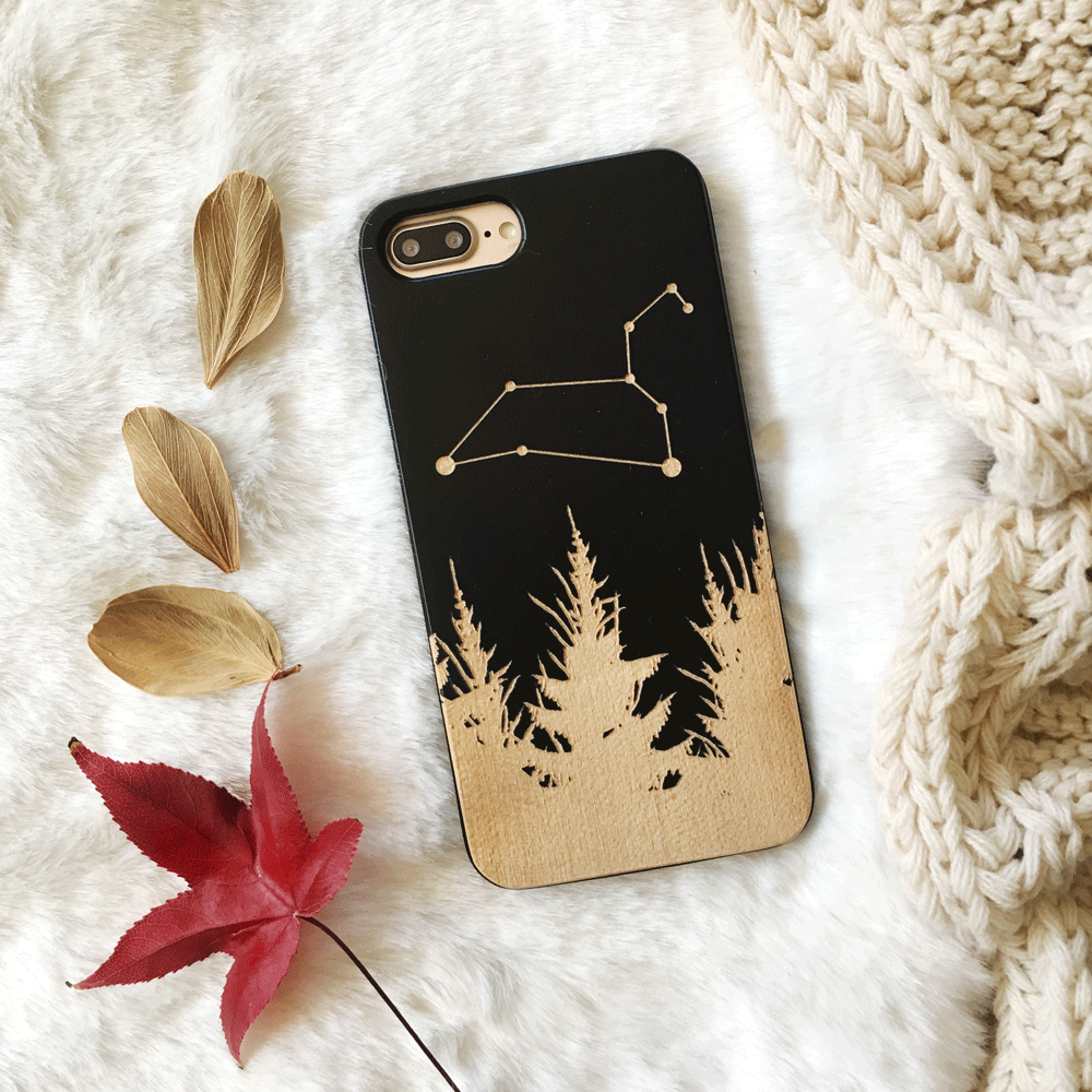 Custom Zodiac Constellations - Wood Phone Case