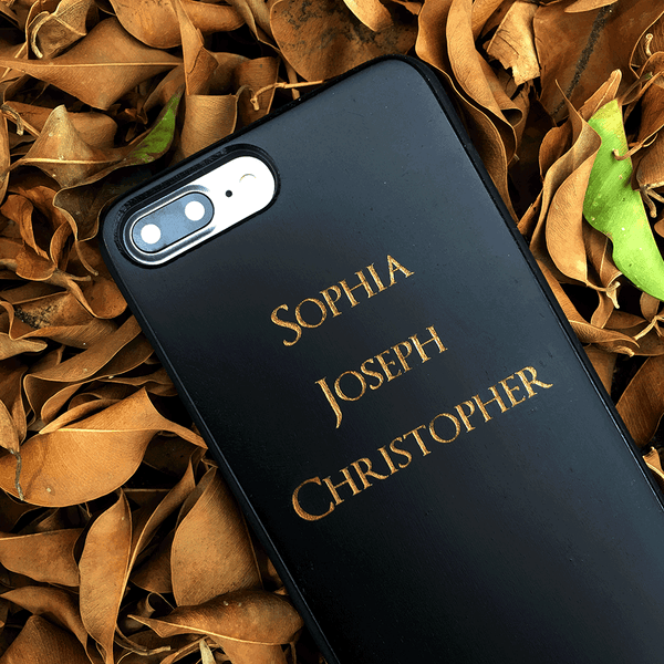 Custom Name Black Wood Phone Case