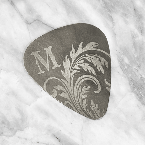 Custom Steel Guitar Pick with Western Initial