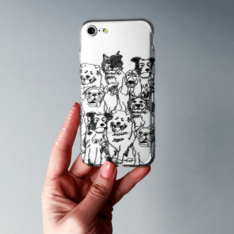 Dog Illustration Clear iPhone and Galaxy Phone Case