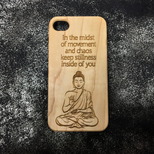 Buddha Quote on Wood iPhone Case