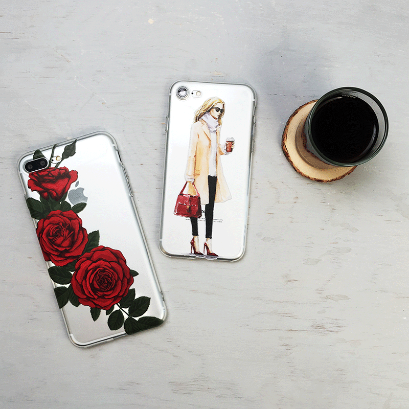 Red Rose Flowers - Clear TPU Phone Case Cover