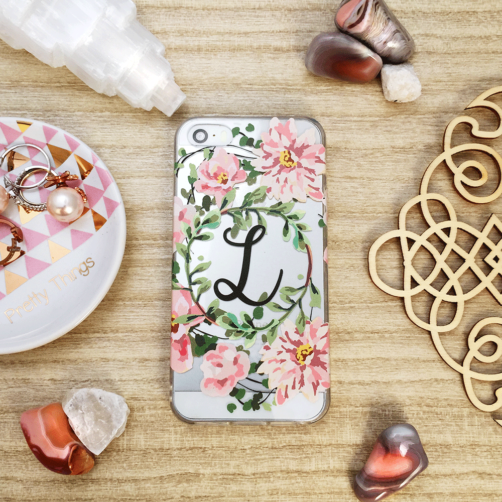 Custom Floral Initials Clear iPhone and Galaxy Case