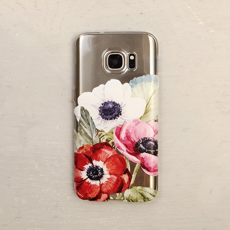 Poppy Flowers Clear Galaxy Phone Case