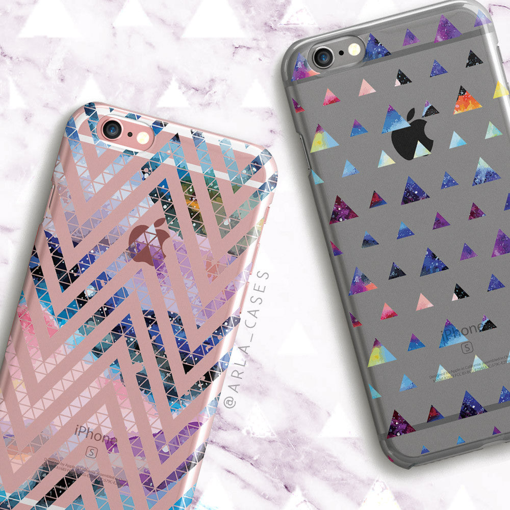 Space Triangle Pattern - Clear Printed Space TPU Phone Case